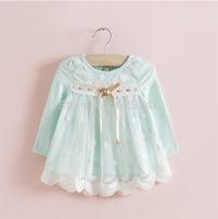 Retail-IDEA Autumn Baby Girls Dress Kids Children's Lovely princess Infant Dress Polka Dots Baby Dress vestido infantil yellow