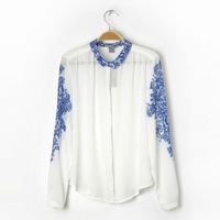 New 2014 Women's Spring Chinese Style Blue And White Porcelain Vintage Print Chiffon Blouse Shirt Long Sleeve Shirt