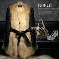 Free shipping  Fashion women medium-long faux fox fur wool overcoat long-sleeve super fur coat for female Made in Korea Fashion