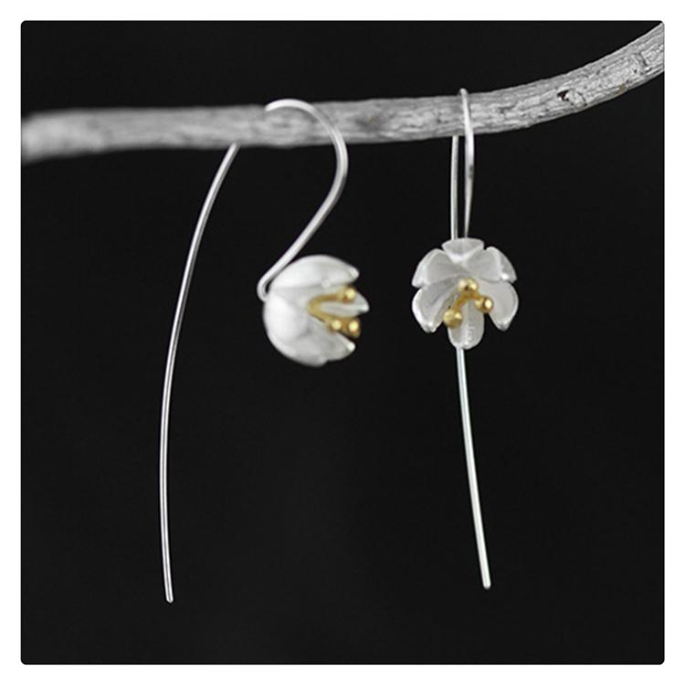 Серебро серьги цветы