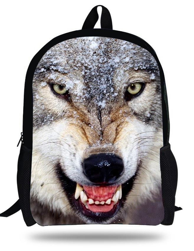 16inch mochila Cool black Wolf bag boy schoolbag for girls school backpack kids animal Wolf Children zoo bags printed teenager(China (Mainland))