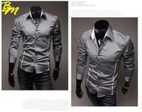 2014 Brand New style Design Mens Shirts High Quality Casual Slim Fit Stylish Dress Shirts 3 Colors camisetas Free Shipping
