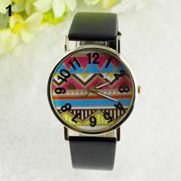 Men's Women's African Totem Geometry Pattern Faux Leather Analog Quartz Wrist Watch 1NU2