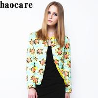 2014 new winter down coat women outwear short O-neck collar flower print down jacket overcoat 3XL plus size warm parka DF14M005