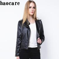 New 2014 autumn winter women leather coat short black zip Epaulet Motorcycle Leather Jacket  XXXL biker coat outwear DF14P004