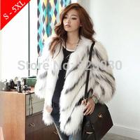 Hot 2014 black and white stripe faux outerwear ,fur faux fur overcoat ,faux fur top,women's coat