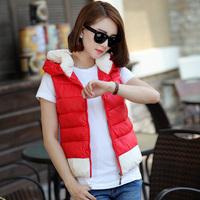 2014 Autumn and Winter Short Design Cotton Vest Female Slim with Hood Vest Outerwear Fashion Cotton Waistcoat Plus Size XXXL