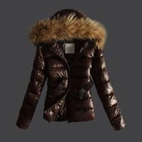 W.ZXS - Hot-Selling 2014 New Winter Women European And America Hooded Raccoon Heavy Hair Collar Zipper Down Jacket WYR33
