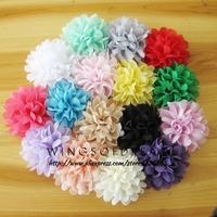 "(120pcs/lot)4.5"" 16 Colors Soft Chic Chiffon Flowers Flatback Flet Flowers for Hair Accessories Craft Flowers DIY Baby Headband"