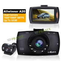 2014 New GT8 G60 Car DVR Dual Camera 1080P Super Night Vision Allwinner A10 170 Degree Wide Angle Lens Built-in 32MB Memory