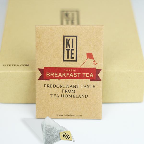 Chinesische frühstück tee Probepackung, ganzen Blättern schwarzer tee in pyramide teebeutel, 2 stück, von drachen
