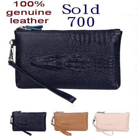 2014 women handbag Women genuine leather clutch wristlet cosmetic purse crocodile Coin Purse Clutch Evening Bag women wallets(China (Mainland))