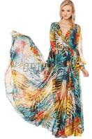 2014 Summer Tropical Flower Print Chiffon Long Sleeve Full Length Elegant One-Piece long Beach Dress V-Neck Dress B19 SV006593