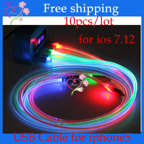 10pcs/lot 8pin Colorful LED USB Charge Data Cable For iphone5 5s 5c Cell Phone(China (Mainland))