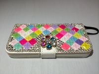 Free Shipping DIY Shining Diamonds/ Crystals Decoration Leather Cover Phone Bags/Cases For Iphone 5/5S/4S/Sumsung S4