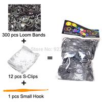 100 Packs/lot (300 Bands + 12 S-Clips + 1 Small Hook) Loom Bands Set Bag Rubber Loom Bands DIY Bracelet  (LB-02)
