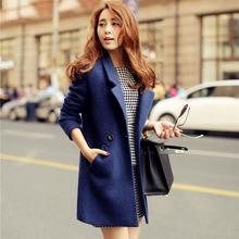 casacos femininos New 2014 Women Coat Winter Blue Slim Wool Coat Long Brand Desigual Woolen Coat Female Overcoat Free Shipping(China (Mainland))