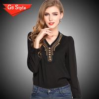 Casual fashion blusas femininas 2014, summer new , women's fashion solid color Y -type V-neck long-sleeved chiffon shirt retro c