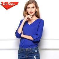 Casual fashion blusas femininas 2015, new , V-neck long-sleeved chiffon beaded epaulettes loose shirt shirt blouse shirt big yar
