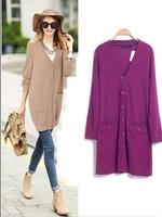 S-XXXL Plus Size Women Long Cardigan Knitwear Purple Sweater Office Work European Tunic Big XXXXL 2014 New Spring Autumn Fall