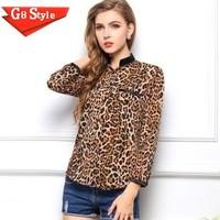 Casual fashion blusas femininas 2014 new big size women's star pattern leopard chiffon shirt blouses tops