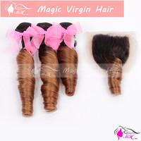 Ombre Two Tone #1b/30 Romance Curl Anuty Fummi Hair 3pcs Brazilian Virgin Hair Bundles And 4X4'' Silk Base Closure No Tangling