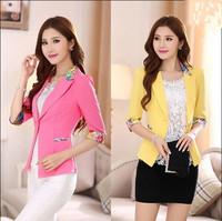 8.19 sales 2015 blazer women outerwear coats one button basic jacket coat suit blazer Flower Print ladies blaiser coats  W00173