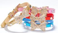 Wholesale 10pcs/lot PU Leather Dog or Cat Collar Rhinestones Gold Color Bowknot Snake Skin Pet Collar