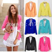 Blazer women Feminino New 2014 Candy Color Jackets  One Button Slim Yellow Ladies Blazers Work Wear Blaser 5 color free shipping
