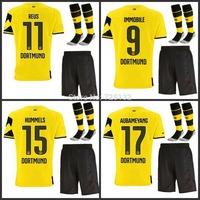14 / 15 Best quality Borussia Dortmund Home REUS HUMMELS SAHIN Gundogan LEWANDOWSKI BVB Soccer jersey short and the match sock