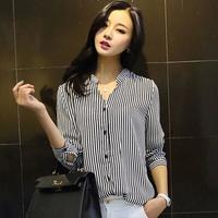 Long Sleeve Chiffon Women Blouse Camisas Blusas Femininas Plus Size striped Ladies Blouses 2014 Summer Autumn Shirt Tops