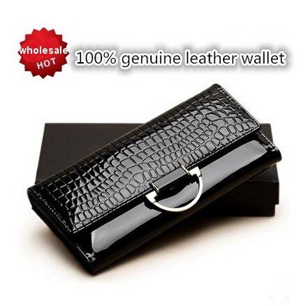 2015 nouveau crocodile portefeuille en cuir véritable dame sac d'embrayage, nouvelle mode des femmes bourse, anneau d portefeuille., véritable peau de vache en cuir portefeuilles