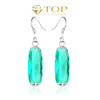 2014 new green crystal  earrings for women wedding topaz jewelry 925 sterling silver plated on sale