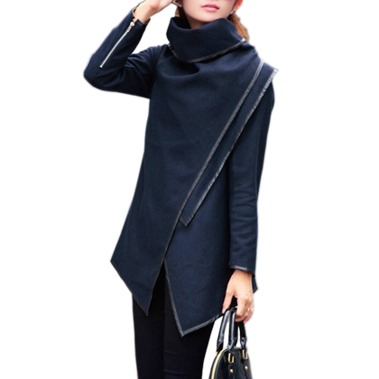 Exclusive 3XL! 2015 Top Fasion Long Zipper Worsted O-neck Full Pockets New Style Winter Women Overcoat Trench Coat Grey#C48806(China (Mainland))