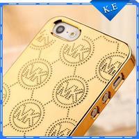 Brand design men women dress Phone Cases MK Gold-plated aluminum cell phone Case Cover for Iphone5 5G 5S Michael Korss Gold Logo