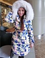 hot sale 2014 winter jacket women,Thicken and warm -20 below zero fashion camouflage Imitation fox fur collar down jacket&coat.