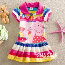 Atacado! Venda Quente Vestidos para meninas Peppa porco listradas roupas para crianças menines George vestidos para crianças marca SMA ESTRELA SMAZ220(China (Mainland))