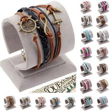 Promotion 2014 New Antique Silver Infinity Anchor Love Owl Charm Bracelet men Vintage Wax Cord Leather Braid Bracelets Bangles