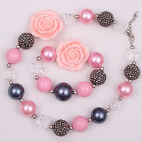 1set DIY Child necklace set Flower Child Chunky bubblegum Bead Necklace bracelet jewelry for Little baby Girls free shipping