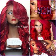Hot M2M Brazilian Virgin Silky Straight Lace Full Wig Glueless Red Full Lace Human Hair Wigs Rihanna Fashion Wigs Free Shipping(China (Mainland))