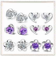 New 2014 earrings for women/heart-shaped stud earrings/sterling silver jewelry free shipping