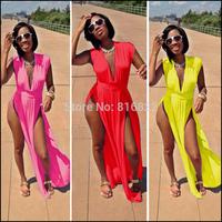Vestidos Femininos Verao High Slit Maxi Dress Plus Size XXXL Clothing Women Long Dress Bodycon Party Dress Sexy Club Dress 2014