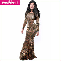 2014 Casual Bandage Dresses Sexy Floor Length Leopard Print Gown Bodycon Mermaid Dress Summer Evening Party Prom Maxi Dress