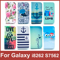 Luxury Wallet Flip Leather Case Cover For Samsung Galaxy S Duos S7562 Core i8262 Mobile Phone Bag With Card Holder