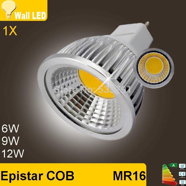 new 1pcs/lot - high power MR16 12V 6w 9w 12w led Dimmable cob spotlight lamp bulb warm cool white GU5.3 220V(China (Mainland))