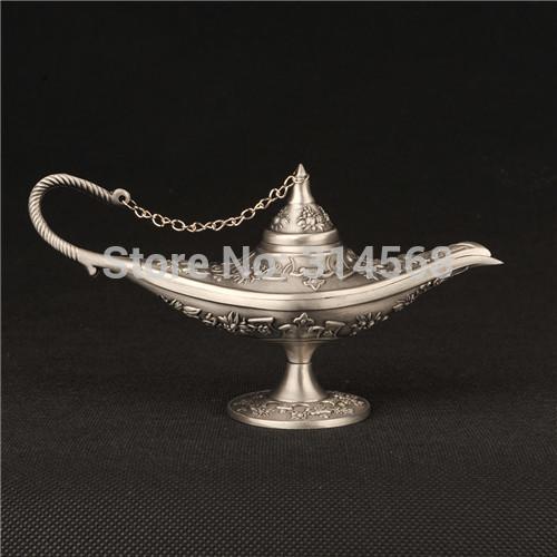 Silver Tin Aladdin Magic Lamp Bronze Colored Outdoor Lamps Tea Pot Genie Lamp Vintage Retro Souvenir Collectable Home Decoration(China (Mainland))