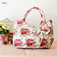 Sweet Lady Cavas Handbag/Tote Bag Q0016,W/Bow-Knot, Free Shipping