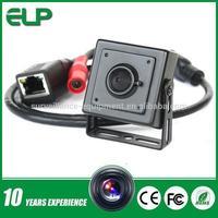 1.0 megapixel onvif  p2p mini ip pinhole camera POE support mobilephone remote surveillance ELP-IP1891-POE
