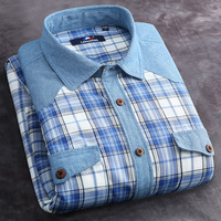 Hot Sale Men's Plaid Long Sleeve Casual Shirt Men turn-down Collar Slim Fit Flannel Jeans Shirts With 2 Pockets  Matching Color