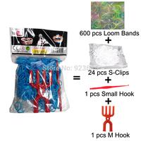 100 Packs/lot (600 Bands + 25 S-Clips + 1 Small Hook + 1 M Hook) Loom Bands Set Bag Rubber Loom Bands DIY Bracelet (LB-03)